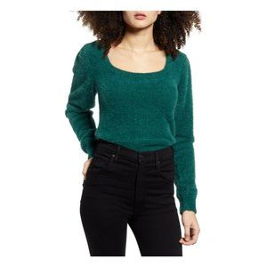 NEW ASTR The Label Green Fuzzy Crop Sweater